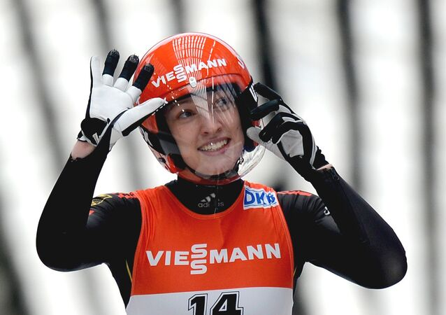 Germany's Aileen Frisch after a race at the Luge World Cup in Sochi. File photo