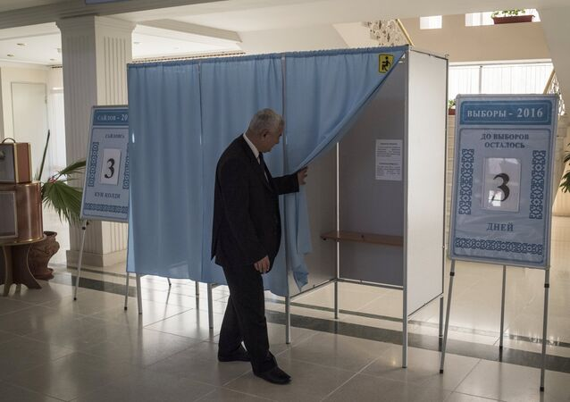 A polling station at the Tashkent Campus of the Moscow State University