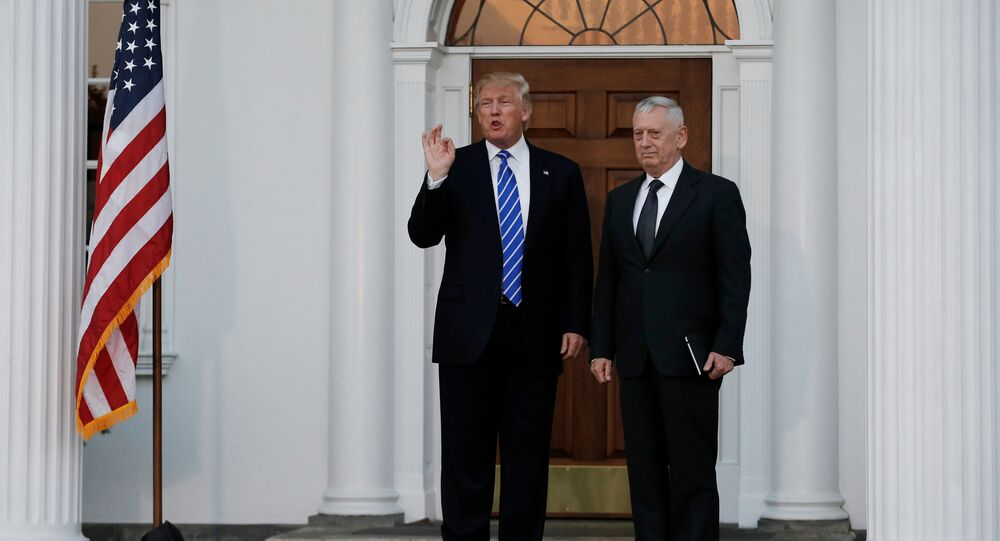 U.S. President-elect Donald Trump stands with retired Marine Gen. James Mattis following their meeting at the main clubhouse at Trump National Golf Club in Bedminster, New Jersey, U.S., November 19, 2016