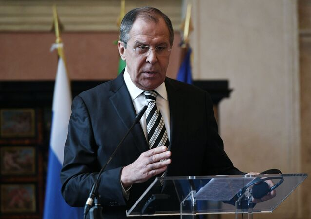 Russian Foreign Minister Sergei Lavrov during a news conference in Rome following talks with his Italian counterpart Paolo Gentiloni