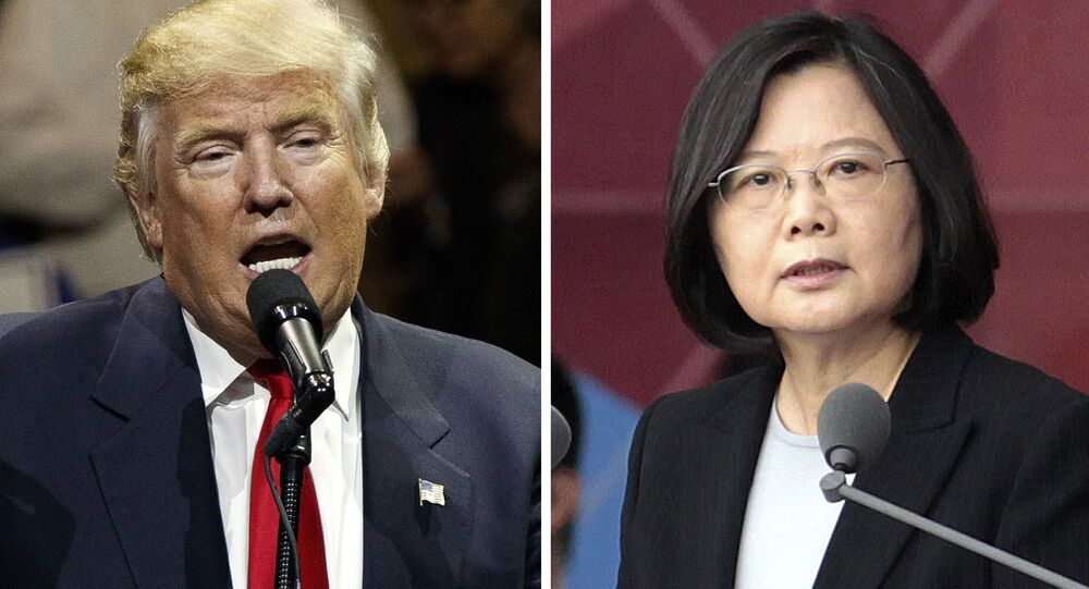 FILE - This combination of two photos shows U.S. President-elect Donald Trump, left, speaking during a USA Thank You tour event in Cincinatti Thursday, Dec. 1, 2016, and Taiwan's President Tsai Ing-wen, delivering a speech during National Day celebrations in Taipei, Taiwan, Monday, Oct. 10, 2016