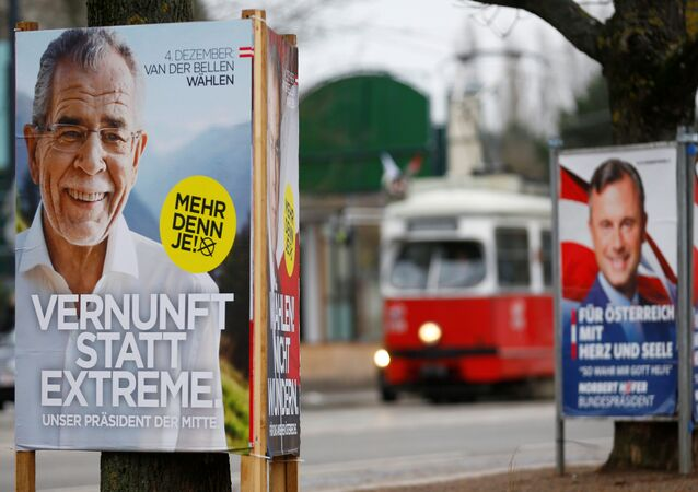 Presidential election campaign posters of far right Freedom Party (FPOe) presidential candidate Norbert Hofer and Alexander Van der Bellen, who is supported by the Greens, are seen in Vienna, Austria, December 1, 2016