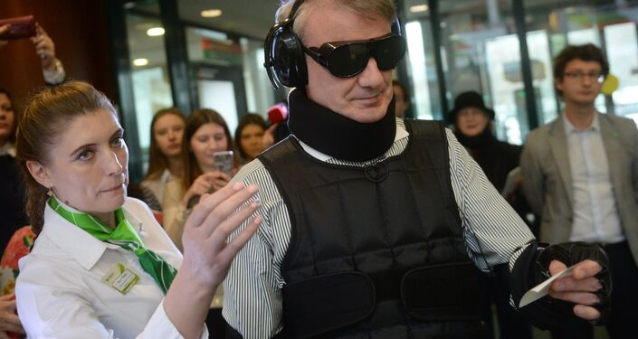 Herman Gref, president and Chairman of Executive Board at Sberbank of Russia, during the launch of a project to adapt the bank's services and products to physically challenged people