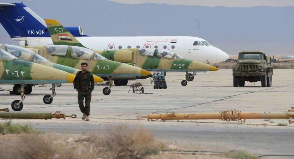 L-39 planes of the Syrian Arab Army (SAA) Air Force at an aerodrome 50 km off Palmyra