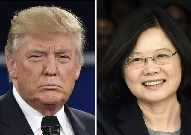(FILES) This combo of file photos shows Republican presidential candidate Donald Trump (L) in St. Louis, Missouri on October 9, 2016 and Taiwan's President Tsai Ing-wen in Panama City on June 27, 2016