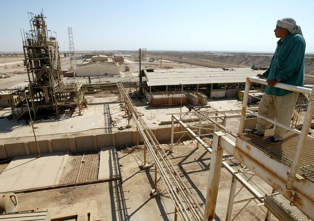 A worker stands on a platform overlooking the chlorine plant. Iraq (File)