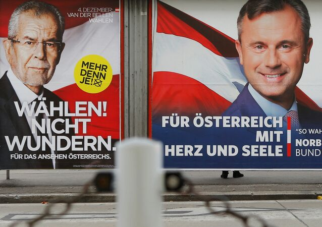 Presidential election campaign posters of Alexander Van der Bellen, who is supported by the Greens, reading Vote! Don't be surprised. and of Norbert Hofer of the FPOe, reading For Austria with heart and soul, are seen in Vienna, Austria, November 24, 2016.