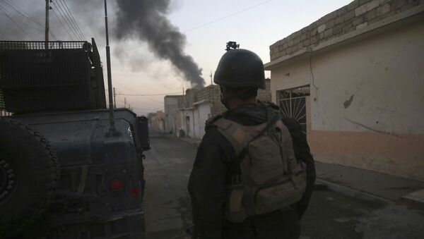 An Iraqi special forces soldier, stands next to a Humvee, as he looks at black smoke rising during a battle against the Islamic State militants, in the Bakr front line neighborhood, in Mosul, Iraq, Saturday, Nov. 26, 2016 - Sputnik International