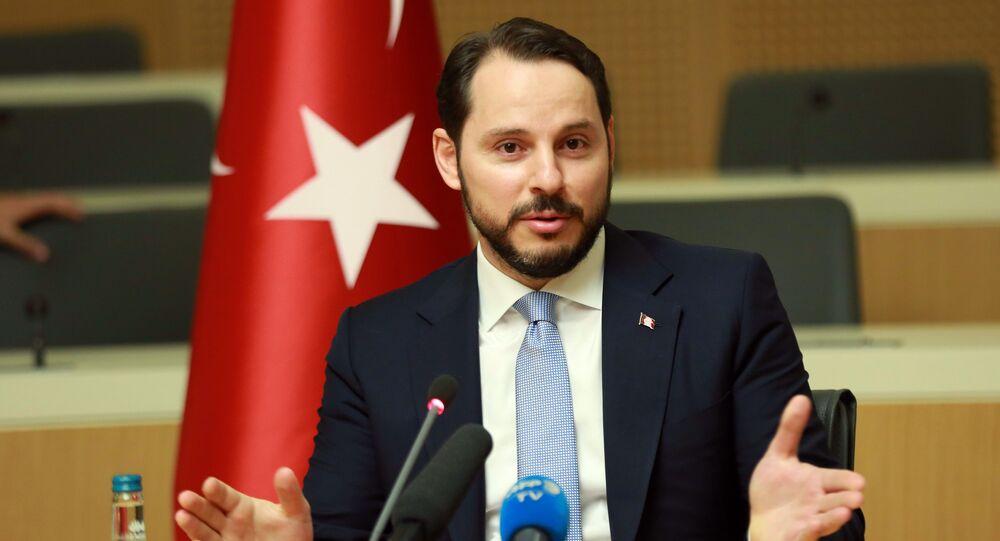 Turkish Minister of Energy Berat Albayrak gestures as he addresses the media in Ankara, on July 27, 2016