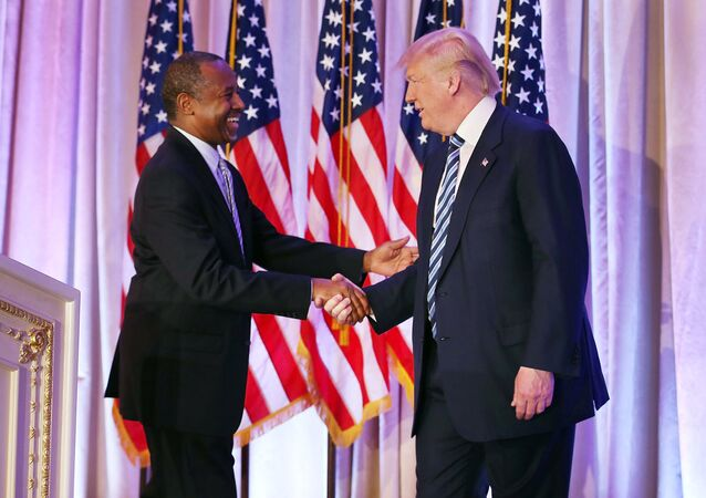 Donald Trump shaking hands with  Ben Carson (File)
