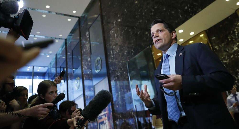 Anthony Scaramucci, a member of President-elect Donald Trump's transition team executive committee, and founder and Co-Managing Partner of investment firm SkyBridge Capital, talks with media at Trump Tower, Thursday, Nov. 17, 2016, in New York