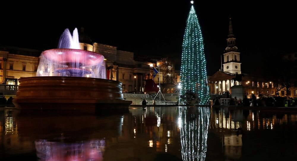 The Norwegian spruce Christmas tree is seen illuminated in Trafalgar Square in London, Britain