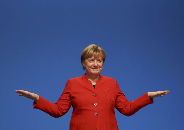 German Chancellor and leader of the conservative Christian Democratic Union party CDU Angela Merkel.