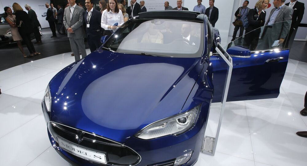A Tesla Model S is on display on the first press day of the Frankfurt Auto Show IAA in Frankfurt, Germany