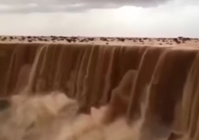 Sand water fall in Saudi arabia
