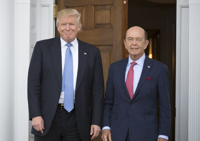 President-elect Donald Trump meets with Wilbur Ross at the clubhouse of Trump National Golf Club November 20, 2016 in Bedminster, New Jersey.