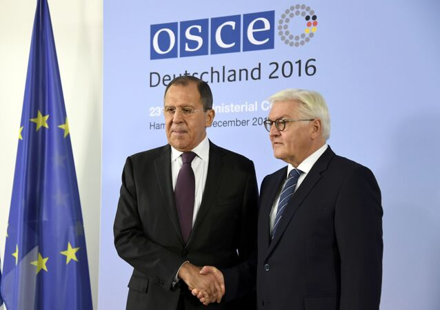 German Foreign Minister Frank-Walter Steinmeier (R) welcomes his Russian counterpart Sergey Lavrov at the 23rd OSCE Ministerial Council organized by Germany's OSCE Chairmanship in Hamburg, Germany December 8, 2016
