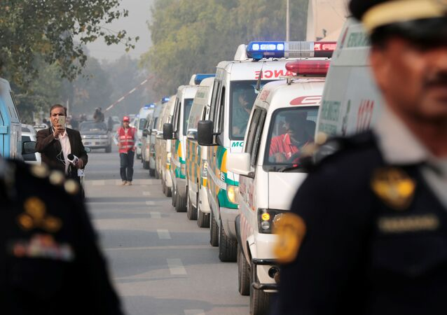 Coffins containing the remains of victims of the Pakistan International Airlines (PIA) plane crash arrive at PIMS hospital by ambulance in Islamabad, Pakistan December 8, 2016.