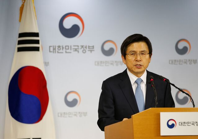 South Korean Prime Minister and the acting President Hwang Kyo-ahn releases a statement to the nation at the Goverment Complex in Seoul, South Korea, December 9, 2016.