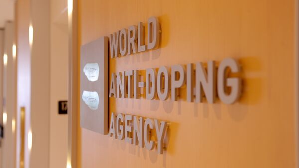Picture of the logo of World Anti-Doping Agency (WADA) taken on September 20, 2016 at the headquarter of the organisation in Montreal. - Sputnik International
