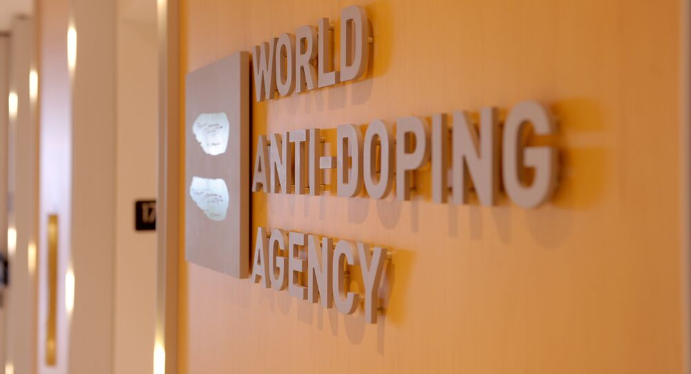 Picture of the logo of World Anti-Doping Agency (WADA) taken on September 20, 2016 at the headquarter of the organisation in Montreal.