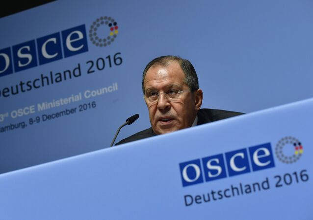 Russia's Foreign Minister Sergei Lavrov addresses a press conference during the foreign ministers' meeting of the Organisation for Security and Cooperation in Europe (OSCE) in Hamburg, northern Germany, on December 9, 2016.