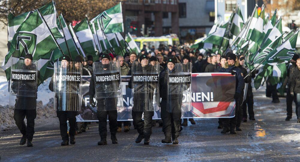 The neo-nazi Nordic Resistance Movement (Nordiska motstandsrorelsens) sympathisers demonstrate in central Stockholm on November 12, 2016 to protest against migrants.