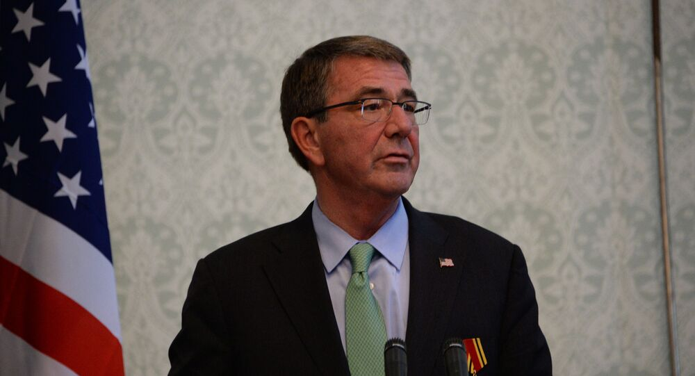 US Defence Secretary Ashton Carter addresses a joint press conference with Afghan President Ashraf Ghani at the Presidential Palace in Kabul