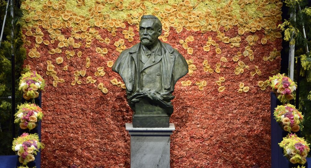 A bust of Swedish industrialist and armaments manufacturer Alfred Nobel is pictured on the stage of Stockholm Concert Hall prior to the 2015 Nobel prize award ceremony on December 10, 2015