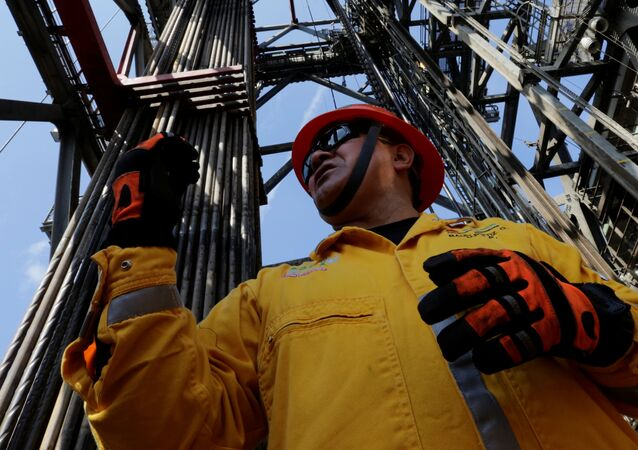 Employee works at the Centenario deep-water oil platform in the Gulf of Mexico off the coast of Veracruz, Mexico January 17, 2014