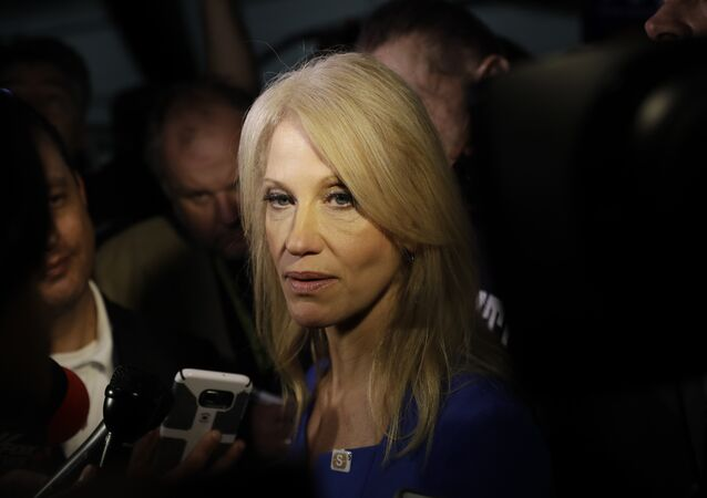 Kellyanne Conway, campaign manager for Republican presidential candidate Donald Trump, speaks with reporters after a speech by Melania Trump at the Main Line Sports Center in Berwyn, Pa., Thursday, Nov. 3, 2016