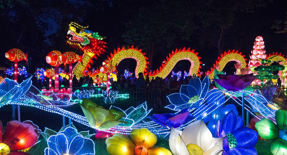 An illuminated dragon is displayed at the Philadelphia Chinese Lantern Festival at Franklin Square in Philadelphia, Pennsylvania on Saturday, May 28, 2016 in New York