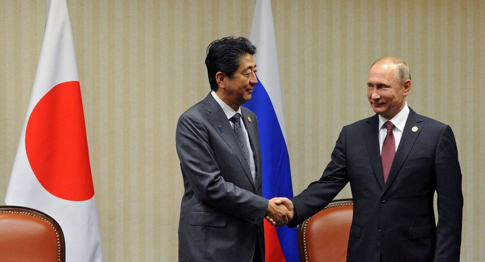 Russian President Vladimir Putin and Japanese Prime Minister Shinzo Abe, left