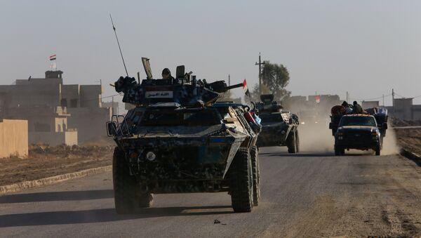 Iraqi security forces members drive a military vehicle in Qaraqosh, near Mosul, Iraq December 9, 2016 - Sputnik International