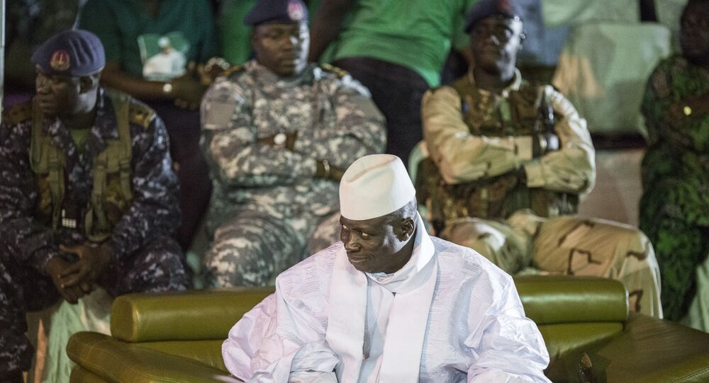Incumbent Gambian President Yahya Jammeh looks on in Banjul on November 29, 2016, during the closing rally of the electoral campaign of the Alliance for Patriotic Reorientation and Construction (APRC)