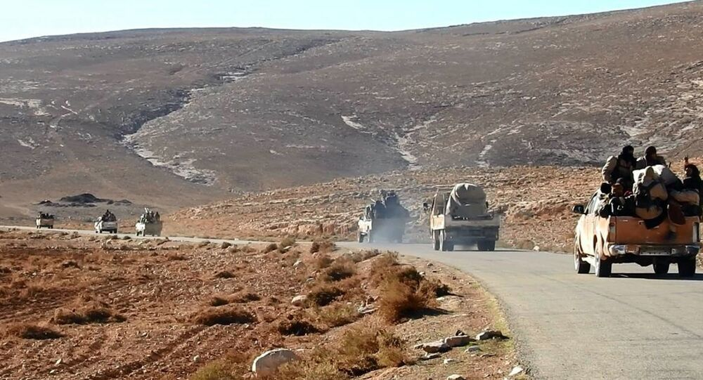 This image posted online on Saturday, Dec. 10, 2016, by Daesh supporters on an anonymous photo sharing website, purports to show a convoy of Daesh vehicles driving in a desert area of east of Palmyra city, in Homs, Syria