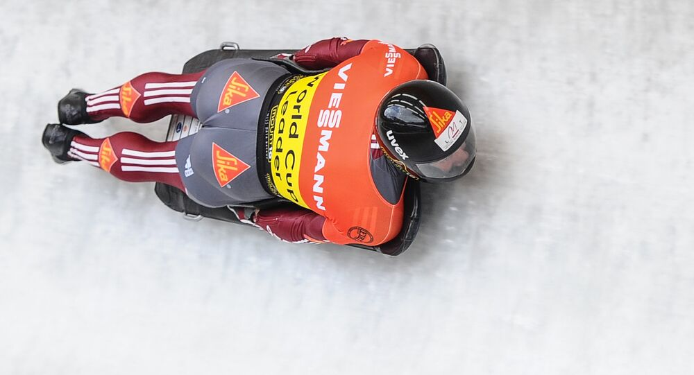 Latvia's Martins Dukurs takes part in the test events at the 9th stage of the Bobsleigh and Skeleton World Cup in Sochi. File photo