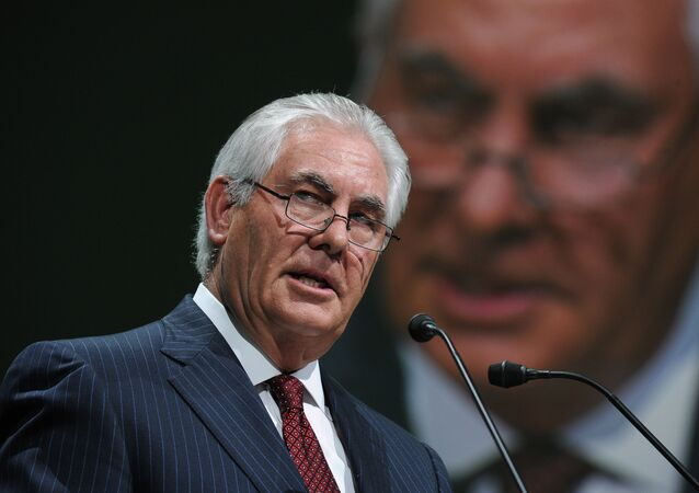 This file photo taken on June 02, 2015, shows Exxon Mobil Chairman and CEO Rex Tillerson addressing the World Gas Conference in Paris