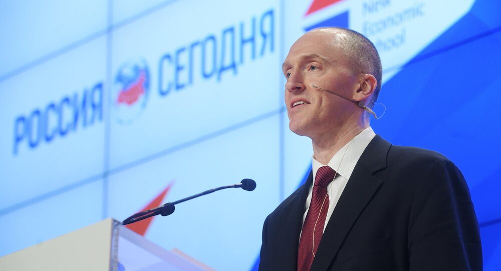 Carter Page, a former adviser to Trump, held a press conference at Sputnik HQ