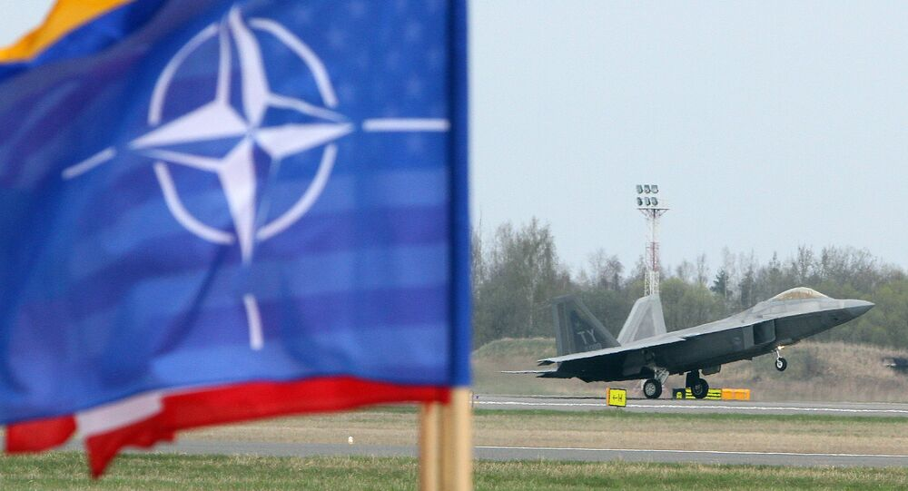 A US Air Force F-22 Raptor fighter aircraft takes off at the Air Base of the Lithuanian Armed Forces in Šiauliai, Lithuania, on April 27, 2016