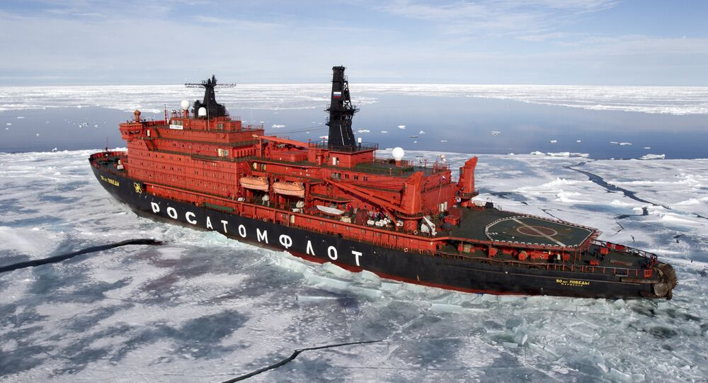 The nuclear icebreaker 50 Years of the Victory in the Arctic Ocean