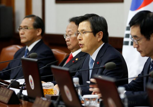 South Korean Prime Minister and the acting President Hwang Kyo-ahn speaks during a cabinet meeting at the Goverment Complex in Seoul, South Korea, December 9, 2016