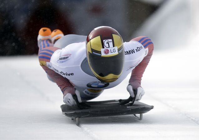 Yun Sungbin, of South Korea, competes in the men's Skeleton World Cup race on Saturday, Jan. 16, 2016, in Park City, Utah