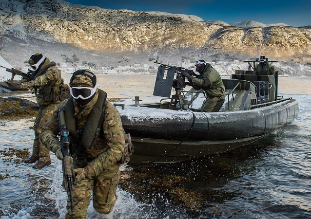 Pictured are Royal Marines and Royal Navy Personnel from 539 Assault Squadron performing a beach assault from an Offshore Raiding Craft (ORC) in Harstad, Norway (File)