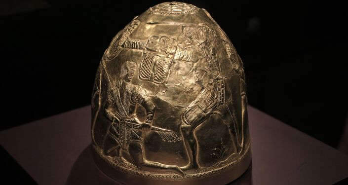 A Scythian gold helmet from the fourth century B.C. is displayed as part of the exhibit called The Crimea - Gold and Secrets of the Black Sea, at Allard Pierson historical museum in Amsterdam Friday April 4, 2014