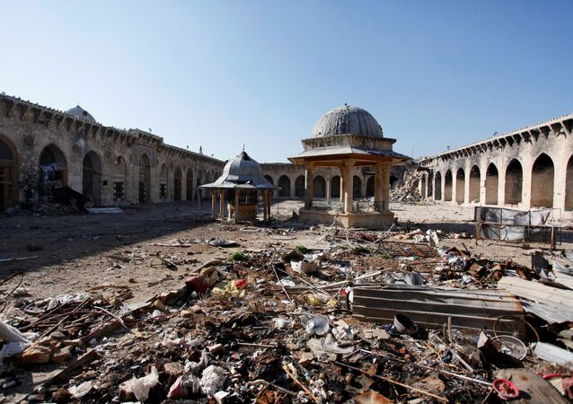 A general view of damage in the Umayyad mosque of Old Aleppo