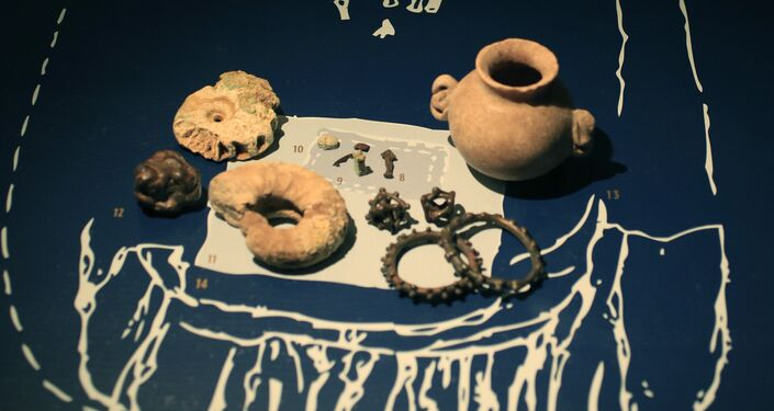 A grave inventory of a Late-Scythian elite woman from the first century A.D., is displayed as part of the exhibit called The Crimea - Gold and Secrets of the Black Sea, at Allard Pierson historical museum in Amsterdam Friday