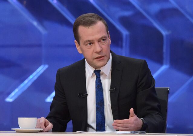Prime Minister Dmitry Medvedev gives interview to Russian TV channels