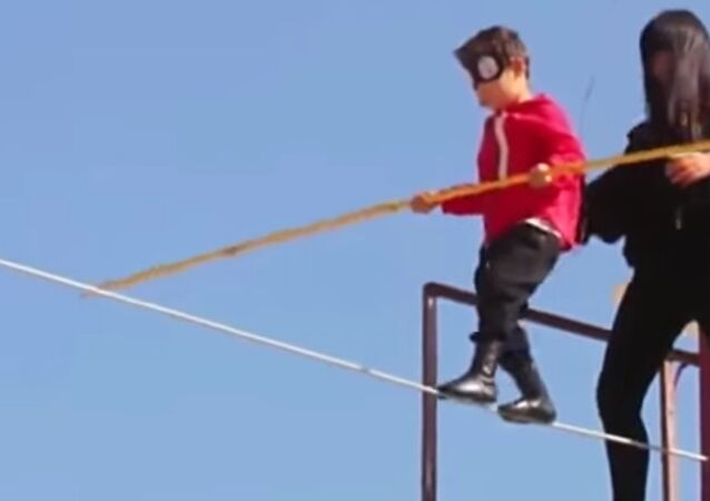 Five year old boy performed rope walk to earn a car for his family