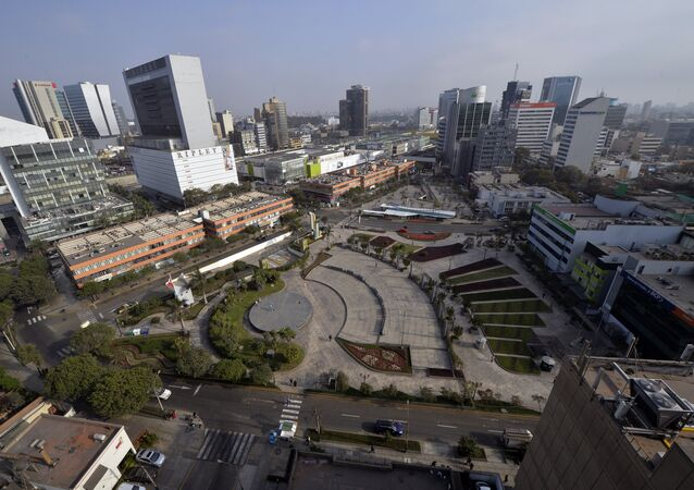 View of the commercial district of San Isidro, in Lima, Peru